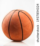 Basketball Ball Over White...