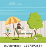 a woman is reading a book on a... | Shutterstock .eps vector #1937893654