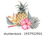 Pineapple And Hibiscus Flower...