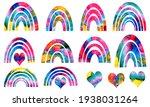 cute watercolor colorful... | Shutterstock . vector #1938031264
