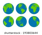 six  earth globes | Shutterstock .eps vector #193803644