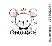 cute mouse princess with crown... | Shutterstock .eps vector #1938082084
