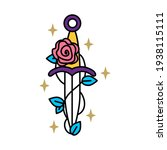 rose wrapped around a sword   Shutterstock .eps vector #1938115111