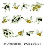 olives set. collection icon... | Shutterstock .eps vector #1938164737
