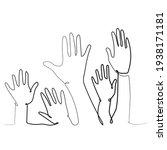 hands up. vector line drawing...   Shutterstock .eps vector #1938171181