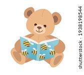 teddy bear reads book. cute toy ... | Shutterstock .eps vector #1938198544