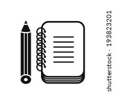 black notebook icon with pencil ... | Shutterstock .eps vector #193823201