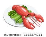 whole boiled lobster dinner... | Shutterstock .eps vector #1938274711