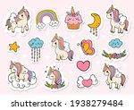 unicorn sticker  planner and... | Shutterstock .eps vector #1938279484