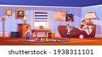 kids in bedroom in pirate... | Shutterstock .eps vector #1938311101
