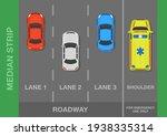 three lane road. top view of... | Shutterstock .eps vector #1938335314