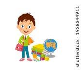 cute cartoon boy stand with...   Shutterstock .eps vector #1938344911