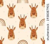 seamless pattern with giraffes... | Shutterstock .eps vector #1938387901