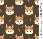 seamless pattern with cows.... | Shutterstock .eps vector #1938387904