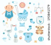 baby boy shower.  set of vector ... | Shutterstock .eps vector #193841579