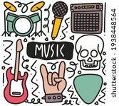 doodle set of music tools hand... | Shutterstock .eps vector #1938448564