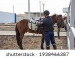 A Policeman Prepares A Horse...