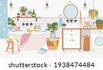 cartoon bathroom interior. foam ... | Shutterstock .eps vector #1938474484