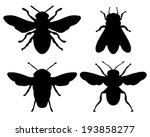 Black Silhouettes Of Bees ...
