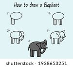 step by step to draw a elephant....   Shutterstock .eps vector #1938653251