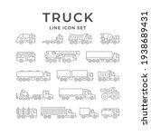 set line icons of trucks... | Shutterstock . vector #1938689431