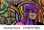 colourful psychedelic line art... | Shutterstock .eps vector #1938707881