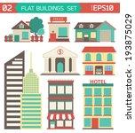 modern flat vector buildings... | Shutterstock .eps vector #193875029