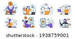 set of eight scenes depicting... | Shutterstock .eps vector #1938759001