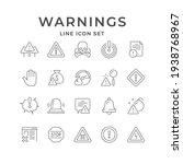 set line icons of warnings...   Shutterstock . vector #1938768967