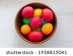 Easter Eggs In Brown Bowl....