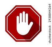 red stop hand block octagon... | Shutterstock .eps vector #1938844264