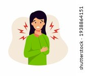 a girl with a sore throat. the...   Shutterstock .eps vector #1938864151