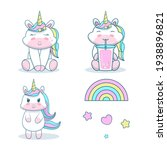 collection cute unicorn with... | Shutterstock .eps vector #1938896821
