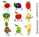 sport fruits characters. funny...   Shutterstock . vector #1939137271