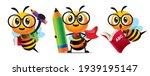 Bee Back To School Set. Cartoon ...