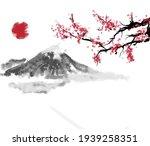 Mount Fujiyama  Red Sun And...