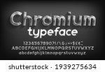 chromium alphabet font. beveled ... | Shutterstock .eps vector #1939275634