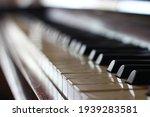 Piano Close Up  Keys Black And...