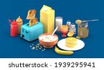toaster surrounded by milk... | Shutterstock . vector #1939295941