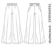 women flare high waist palazzo... | Shutterstock .eps vector #1939343551