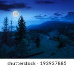 mountain summer landscape. pine trees near meadow and forest on hillside under  cloudy sky at night in moon light - stock photo