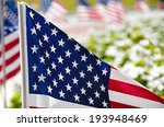 Row Of American Flags Displaye...