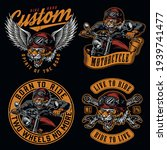 motorcycle vintage colorful... | Shutterstock .eps vector #1939741477