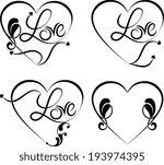 love tattoo design set | Shutterstock . vector #193974395