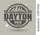 Stamp or label with text Dayton, Ohio inside, vector illustration