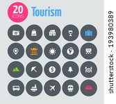 minimalistic tourism icons  on...