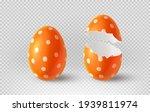 Orange Cracked Egg Isolated On...