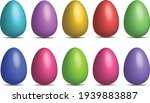 Easter eggs isolated on white background. Set of easter eggs pastel colors decorative. Vector illustration