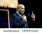 Small photo of Naftali Bennett, leader of the Israeli right wing 'New Right' party, speaks during a conference in Jerusalem, Israel on March 15, 2021. Israel's elections are scheduled on March 23.