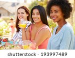 three female friends enjoying... | Shutterstock . vector #193997489
